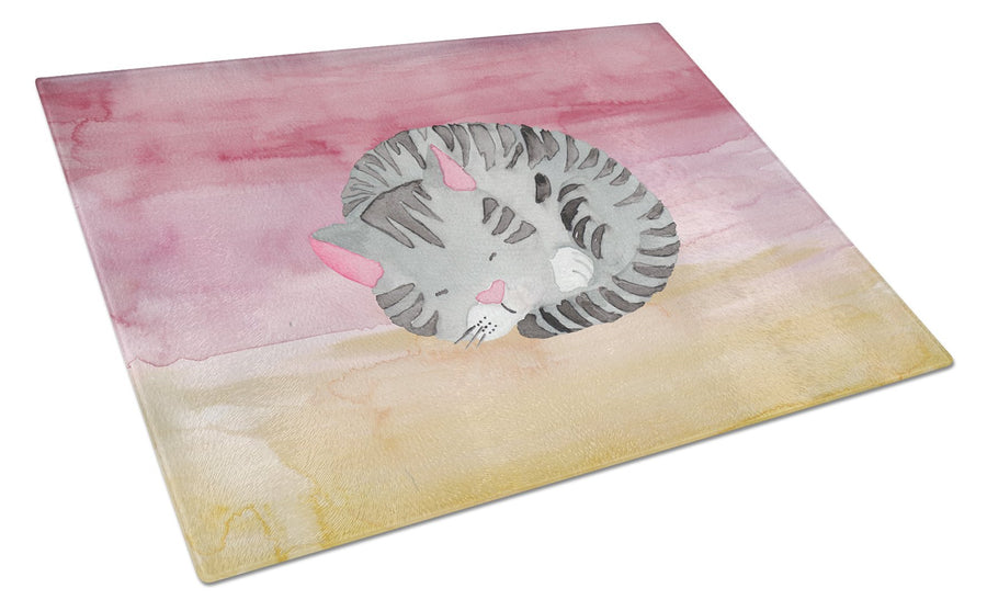 Buy this Sleeping Grey Cat Watercolor Glass Cutting Board Large BB7353LCB