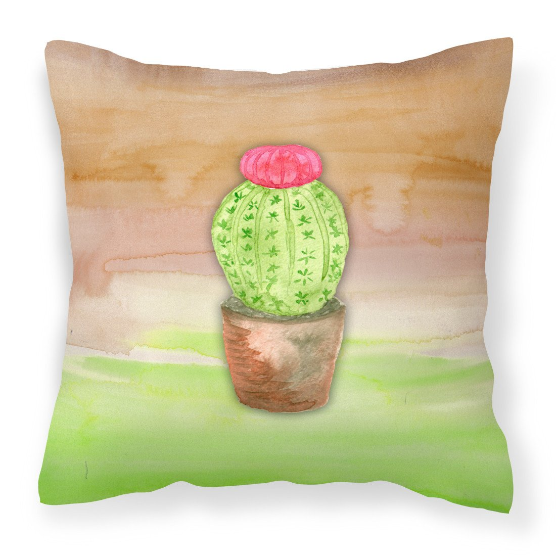 Buy this Cactus Green and Brown Watercolor Fabric Decorative Pillow BB7365PW1818