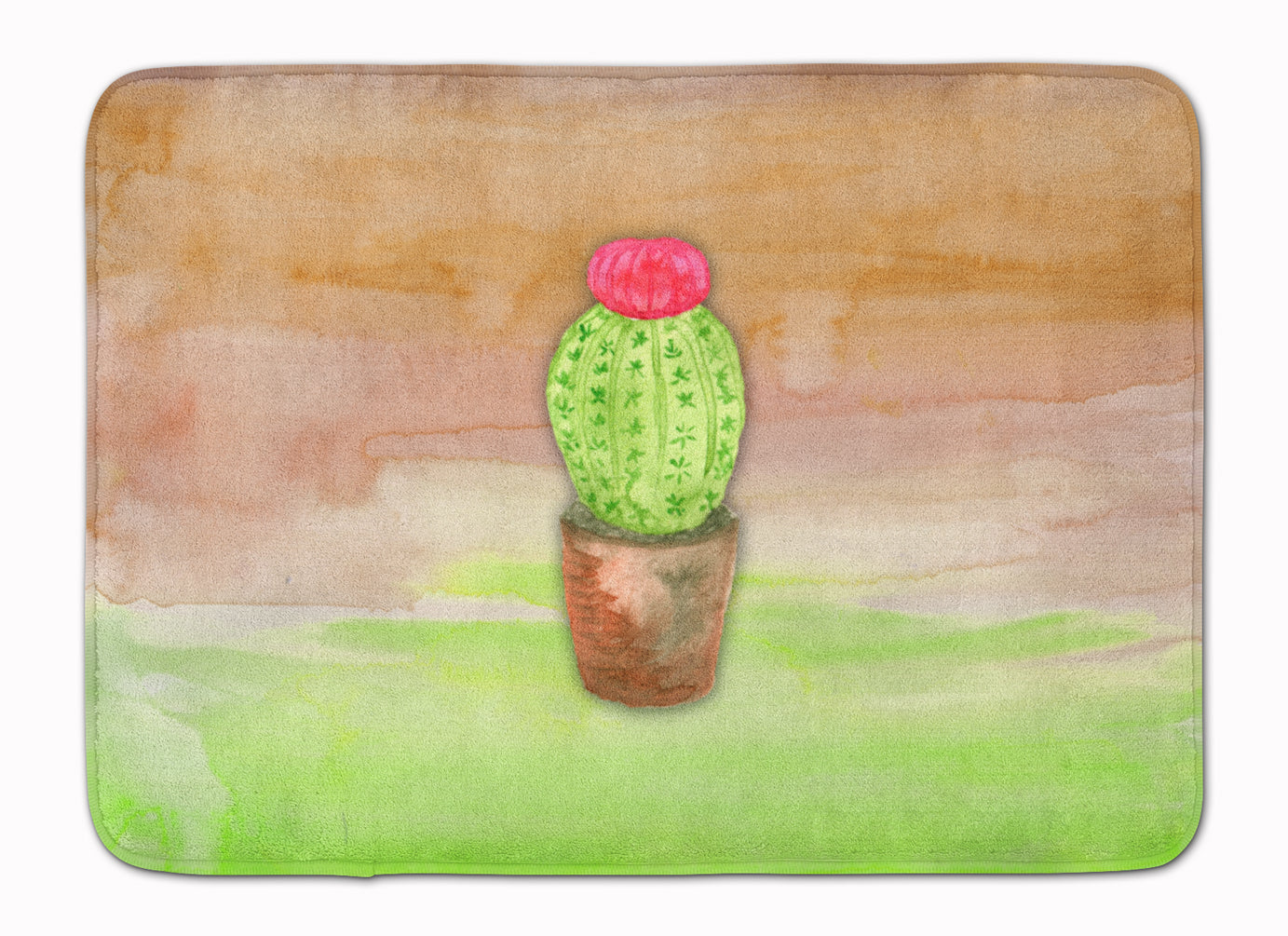 Buy this Cactus Green and Brown Watercolor Machine Washable Memory Foam Mat BB7365RUG