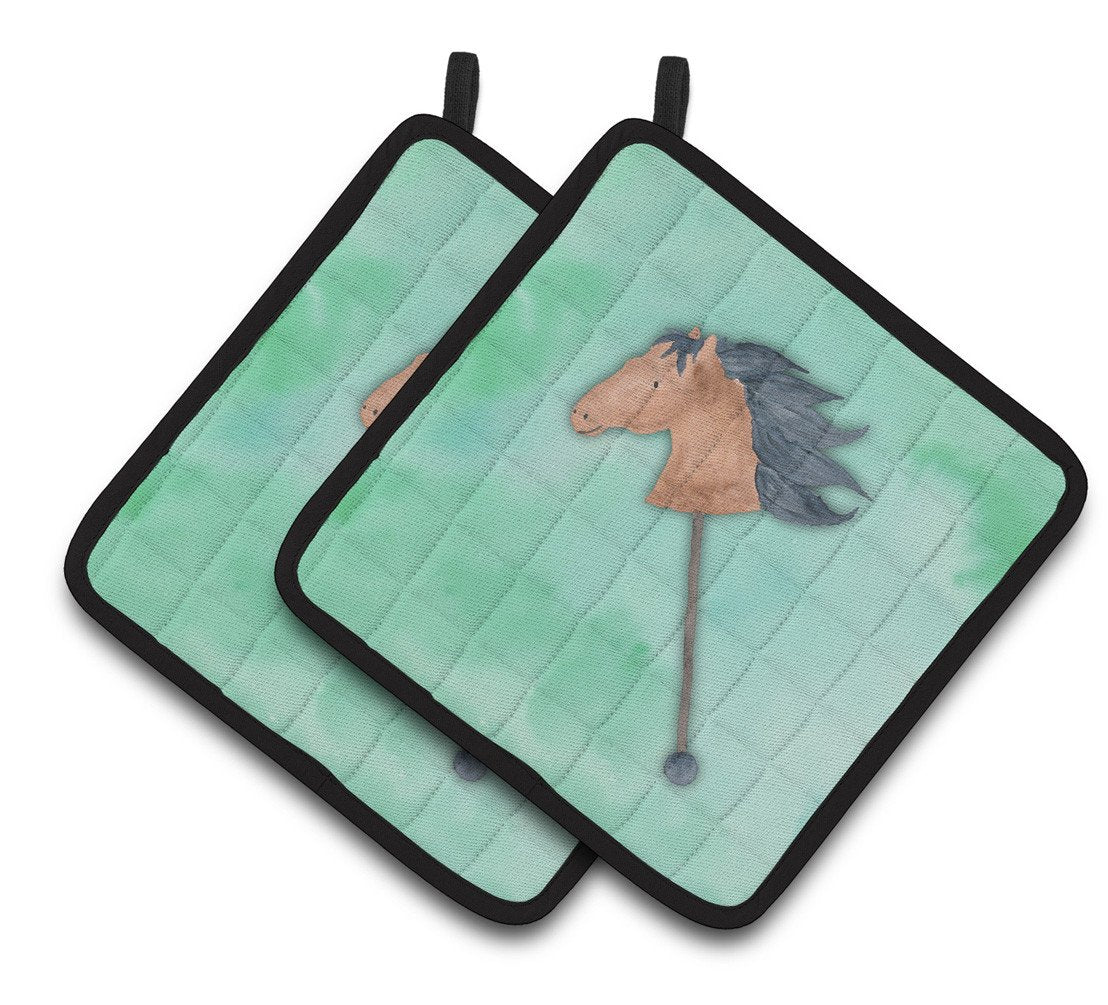 Stick Horse Watercolor Pair of Pot Holders BB7366PTHD by Caroline's Treasures