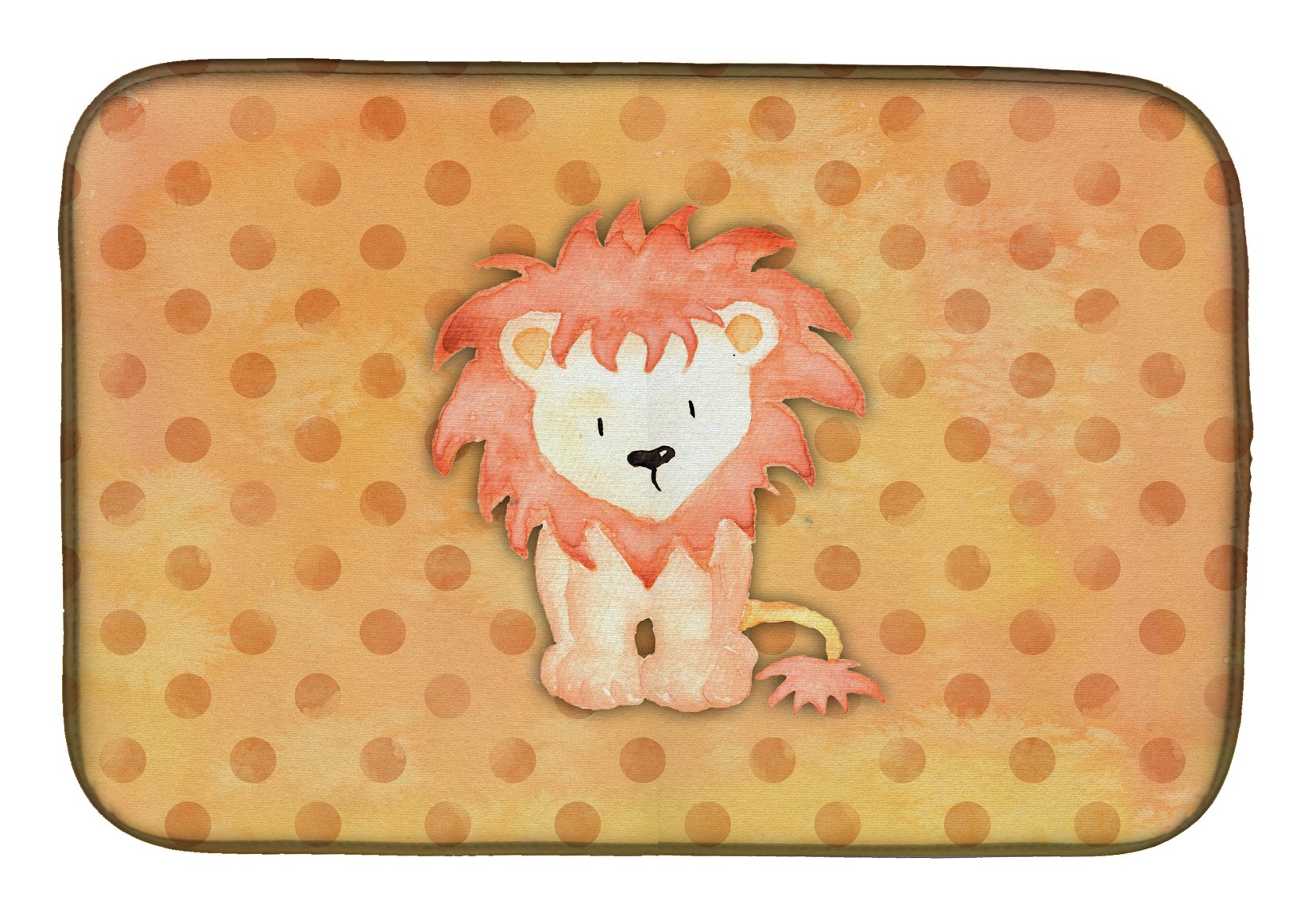 Polkadot Lion Watercolor Dish Drying Mat BB7374DDM by Caroline's Treasures