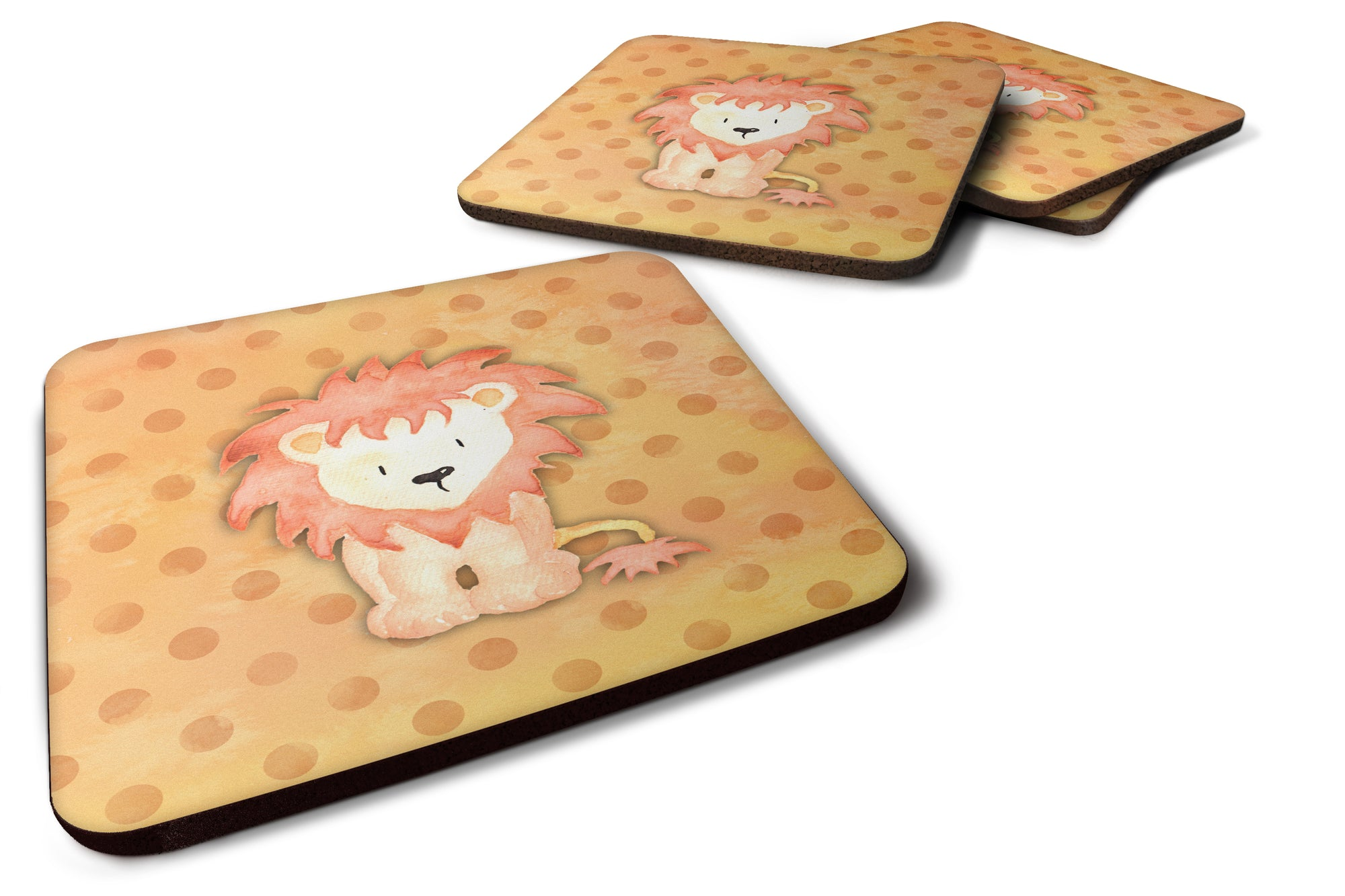 Buy this Polkadot Lion Watercolor Foam Coaster Set of 4 BB7374FC