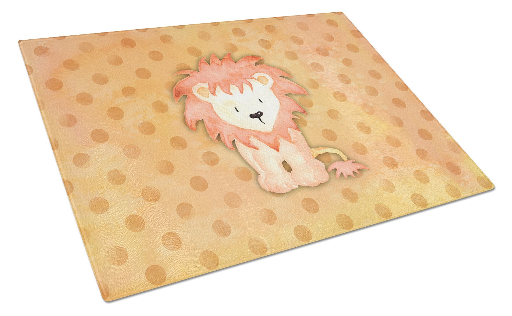 Buy this Polkadot Lion Watercolor Glass Cutting Board Large BB7374LCB