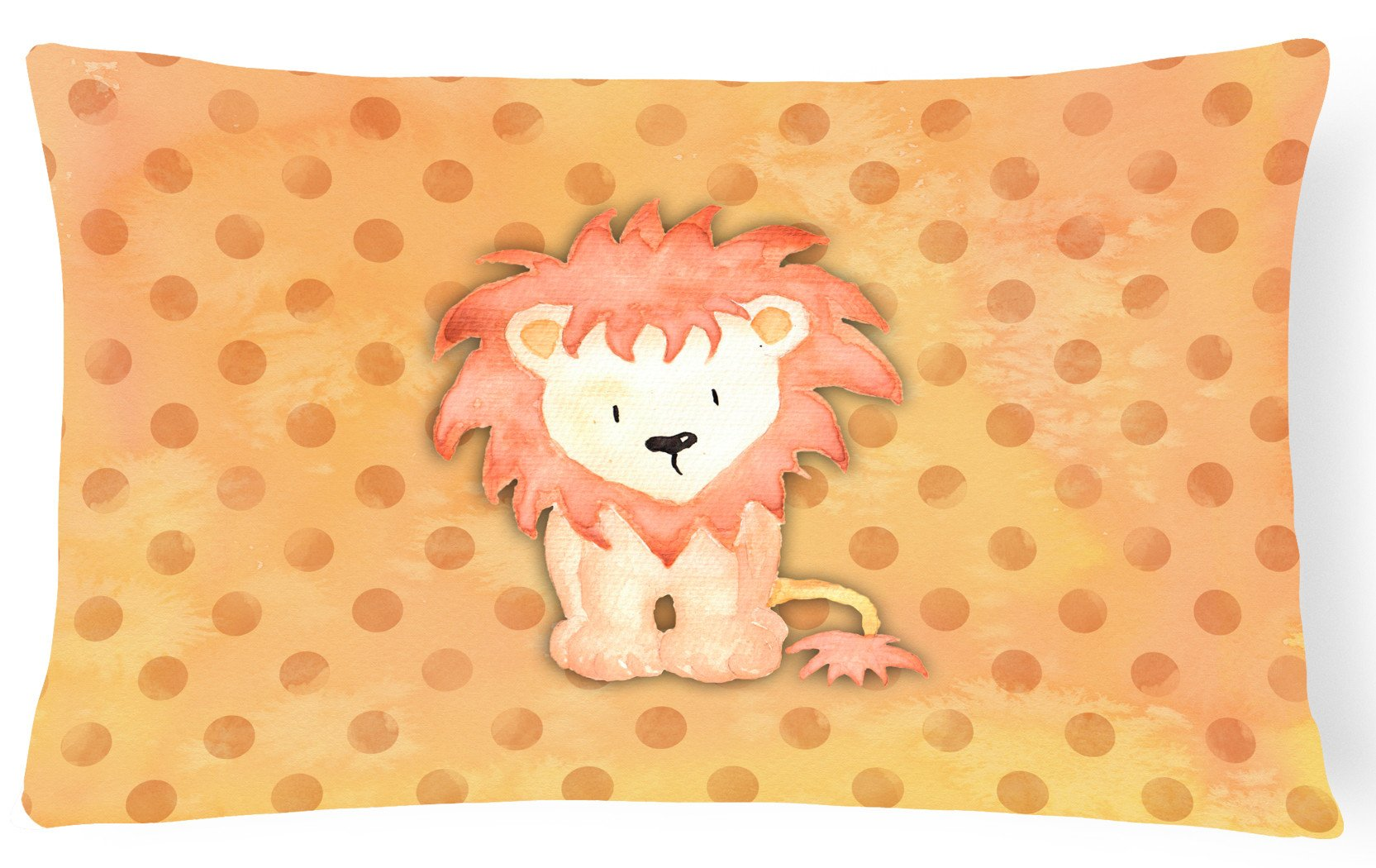 Polkadot Lion Watercolor Canvas Fabric Decorative Pillow BB7374PW1216 by Caroline's Treasures