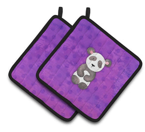 Buy this Polkadot Panda Bear Watercolor Pair of Pot Holders BB7375PTHD