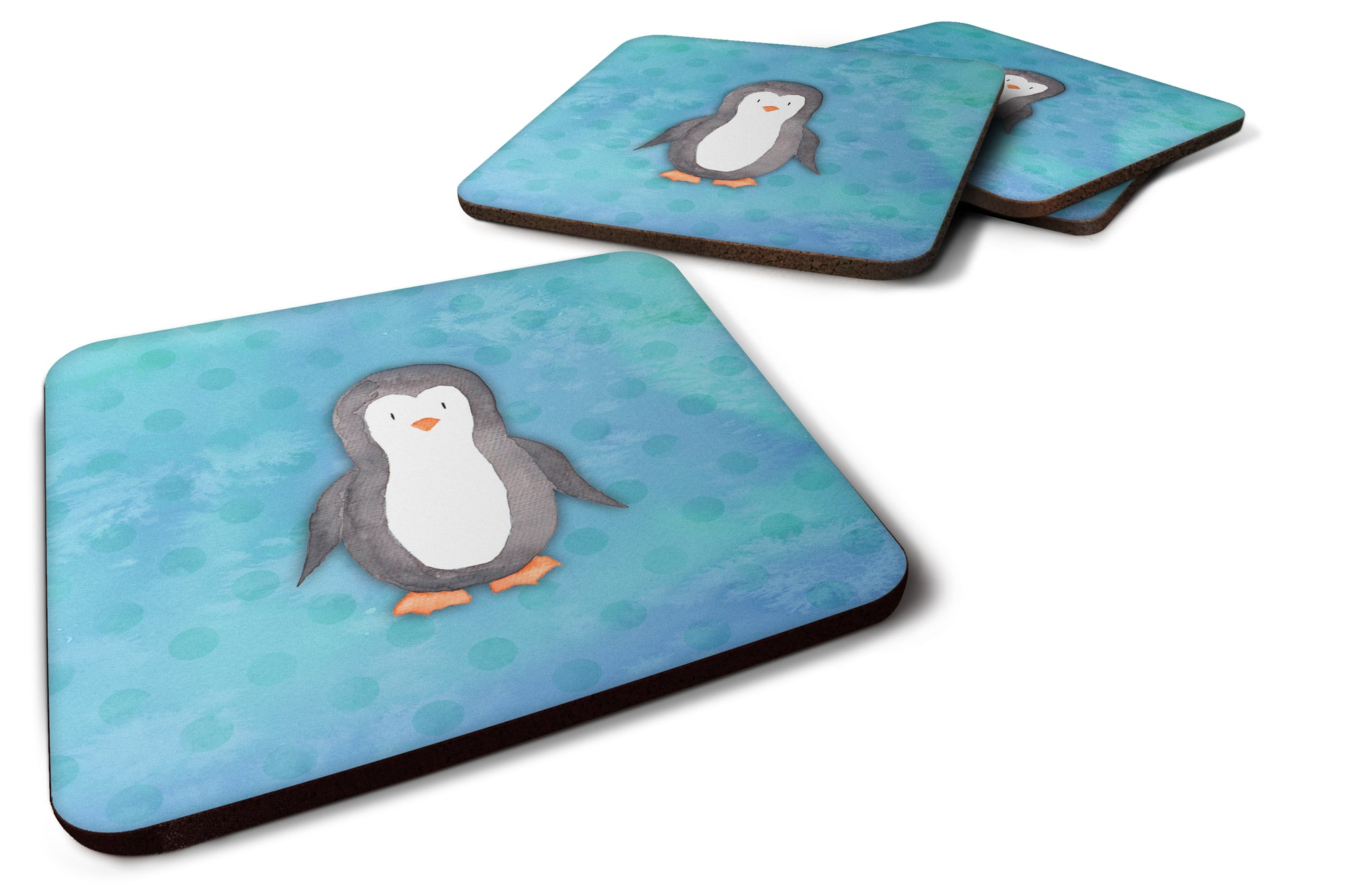 Buy this Polkadot Penguin Watercolor Foam Coaster Set of 4 BB7376FC