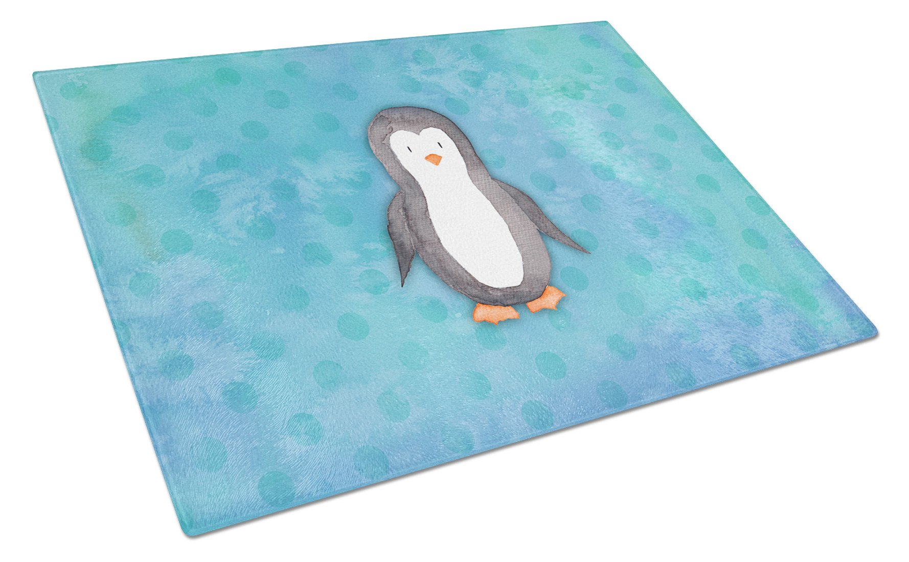 Buy this Polkadot Penguin Watercolor Glass Cutting Board Large BB7376LCB