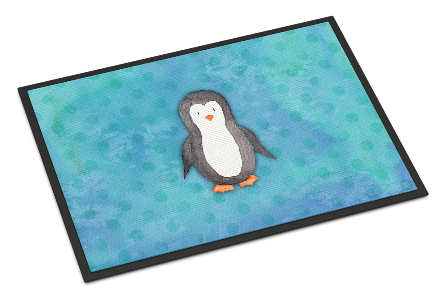 Buy this Polkadot Penguin Watercolor Indoor or Outdoor Mat 18x27 BB7376MAT
