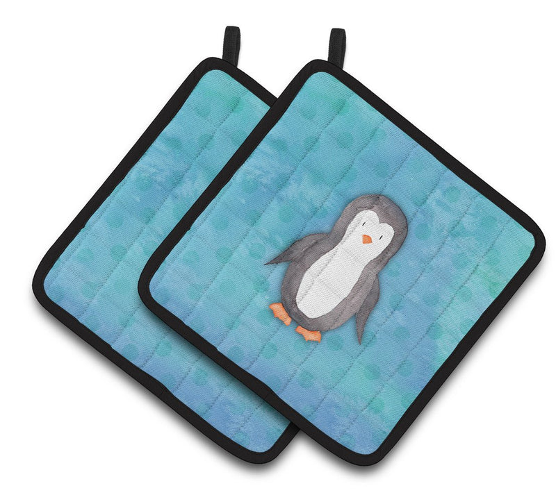 Buy this Polkadot Penguin Watercolor Pair of Pot Holders BB7376PTHD