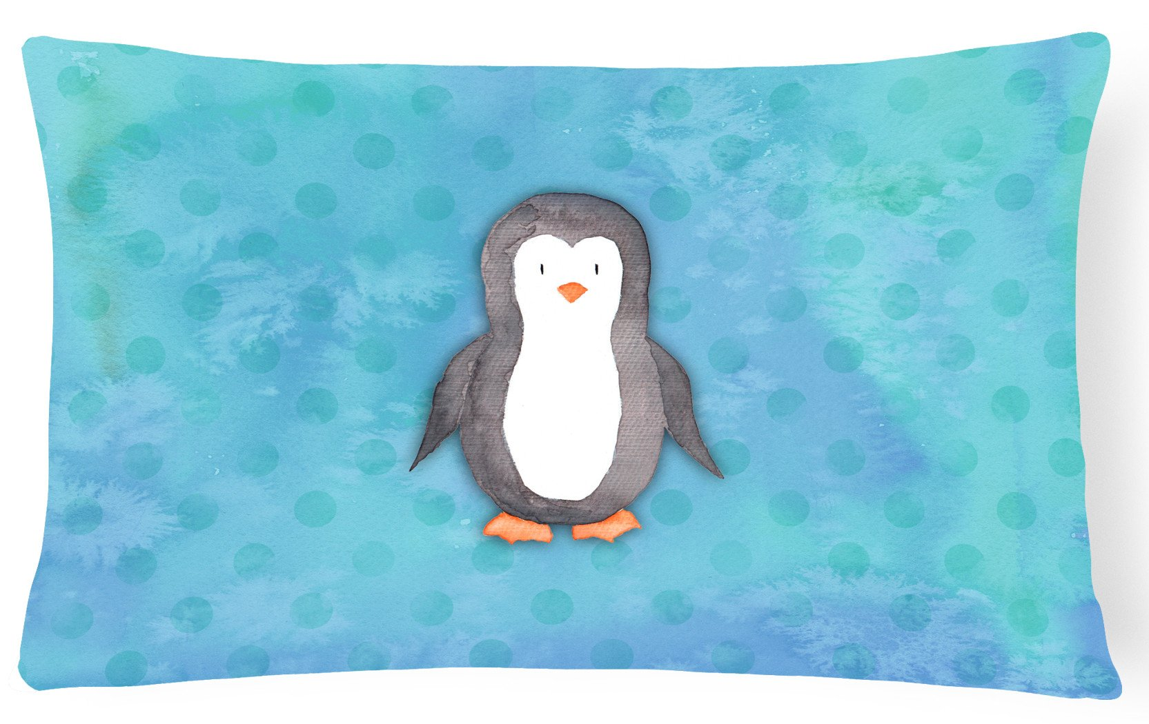 Buy this Polkadot Penguin Watercolor Canvas Fabric Decorative Pillow BB7376PW1216