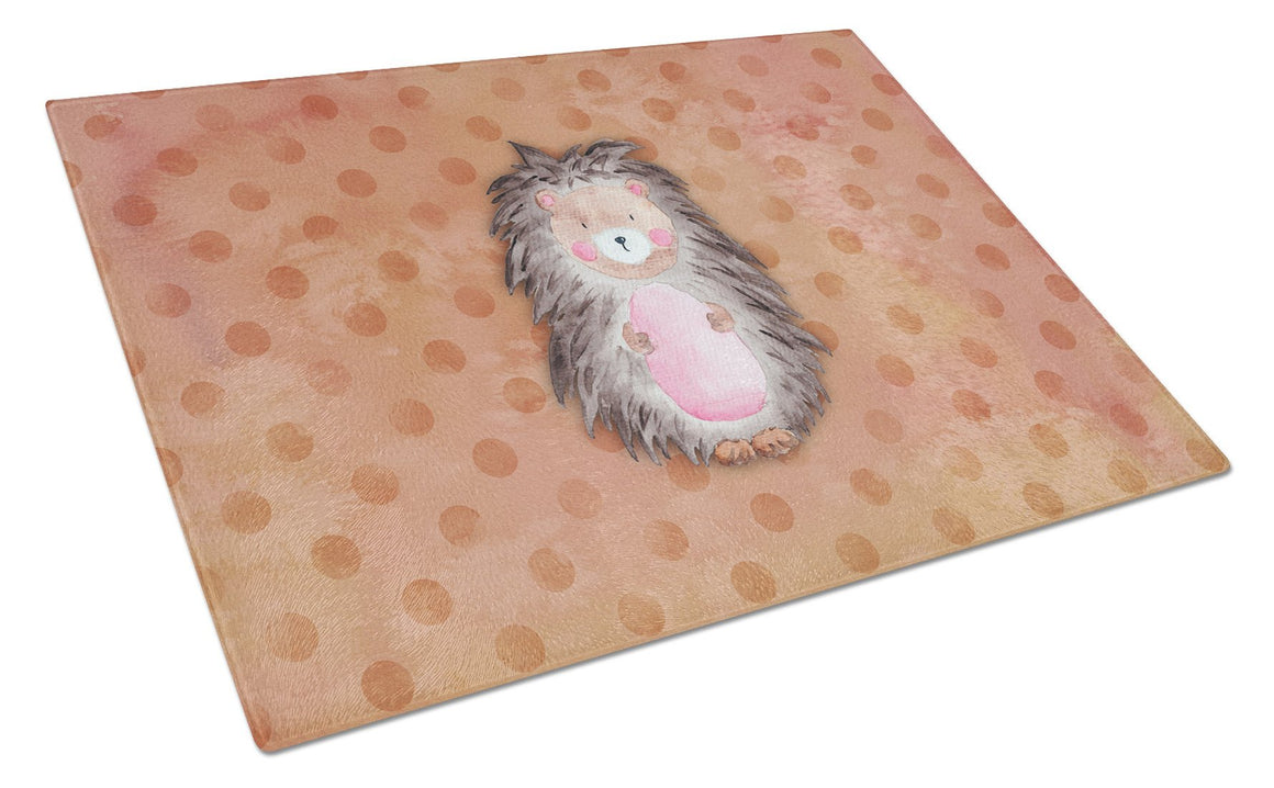 Buy this Polkadot Hedgehog Watercolor Glass Cutting Board Large BB7378LCB