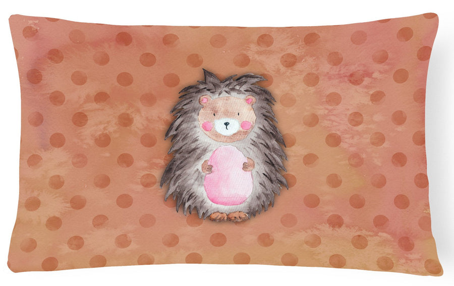 Buy this Polkadot Hedgehog Watercolor Canvas Fabric Decorative Pillow BB7378PW1216