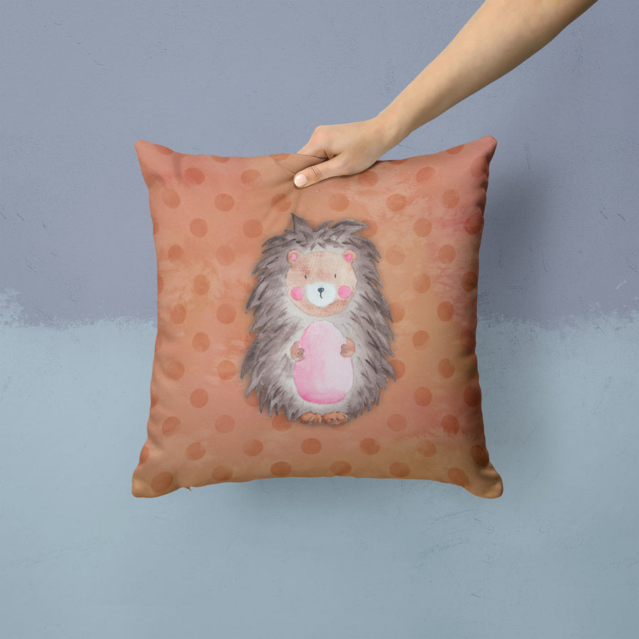 Buy this Polkadot Hedgehog Watercolor Fabric Decorative Pillow BB7378PW1414
