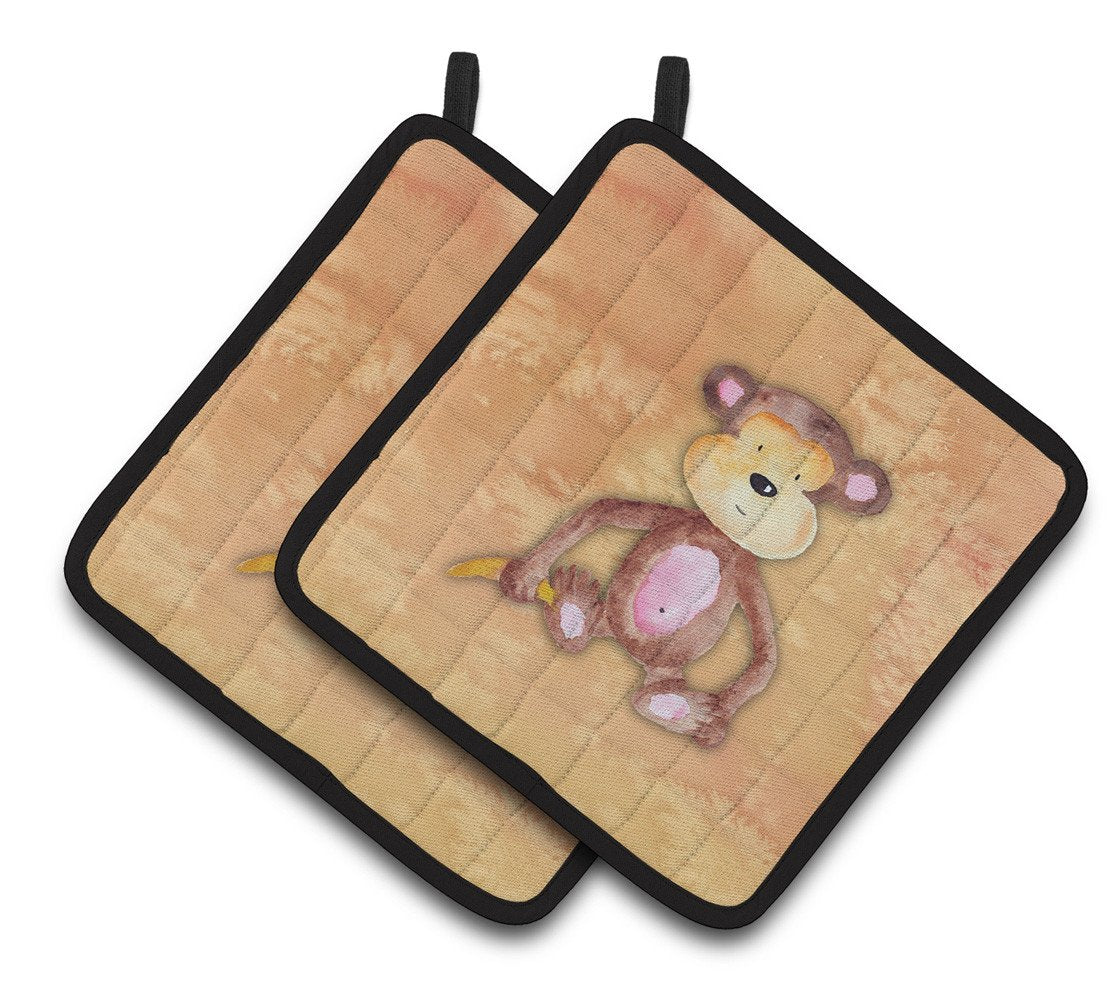 Buy this Monkey Watercolor Pair of Pot Holders BB7380PTHD