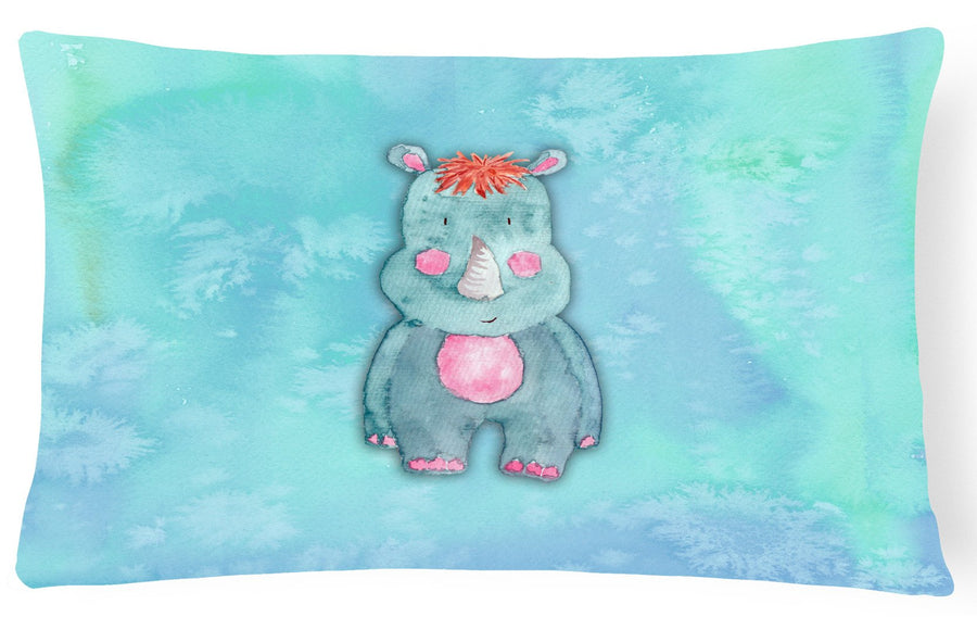 Buy this Rhinoceros Watercolor Canvas Fabric Decorative Pillow BB7381PW1216