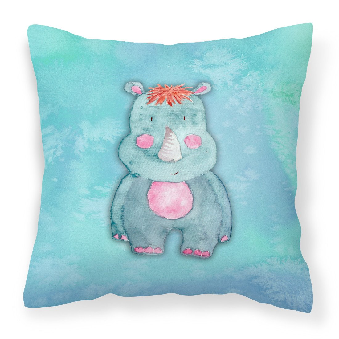 Buy this Rhinoceros Watercolor Fabric Decorative Pillow BB7381PW1818