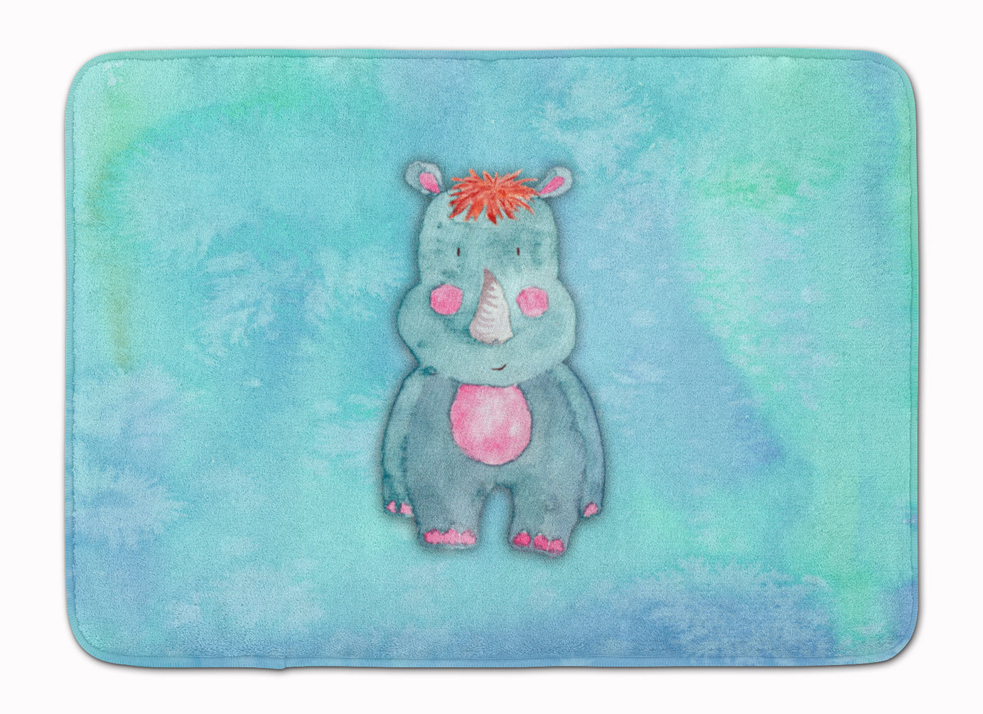 Rhinoceros Watercolor Machine Washable Memory Foam Mat BB7381RUG by Caroline's Treasures