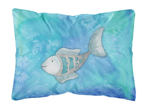 Buy this Blue Fish Watercolor Canvas Fabric Decorative Pillow BB7386PW1216