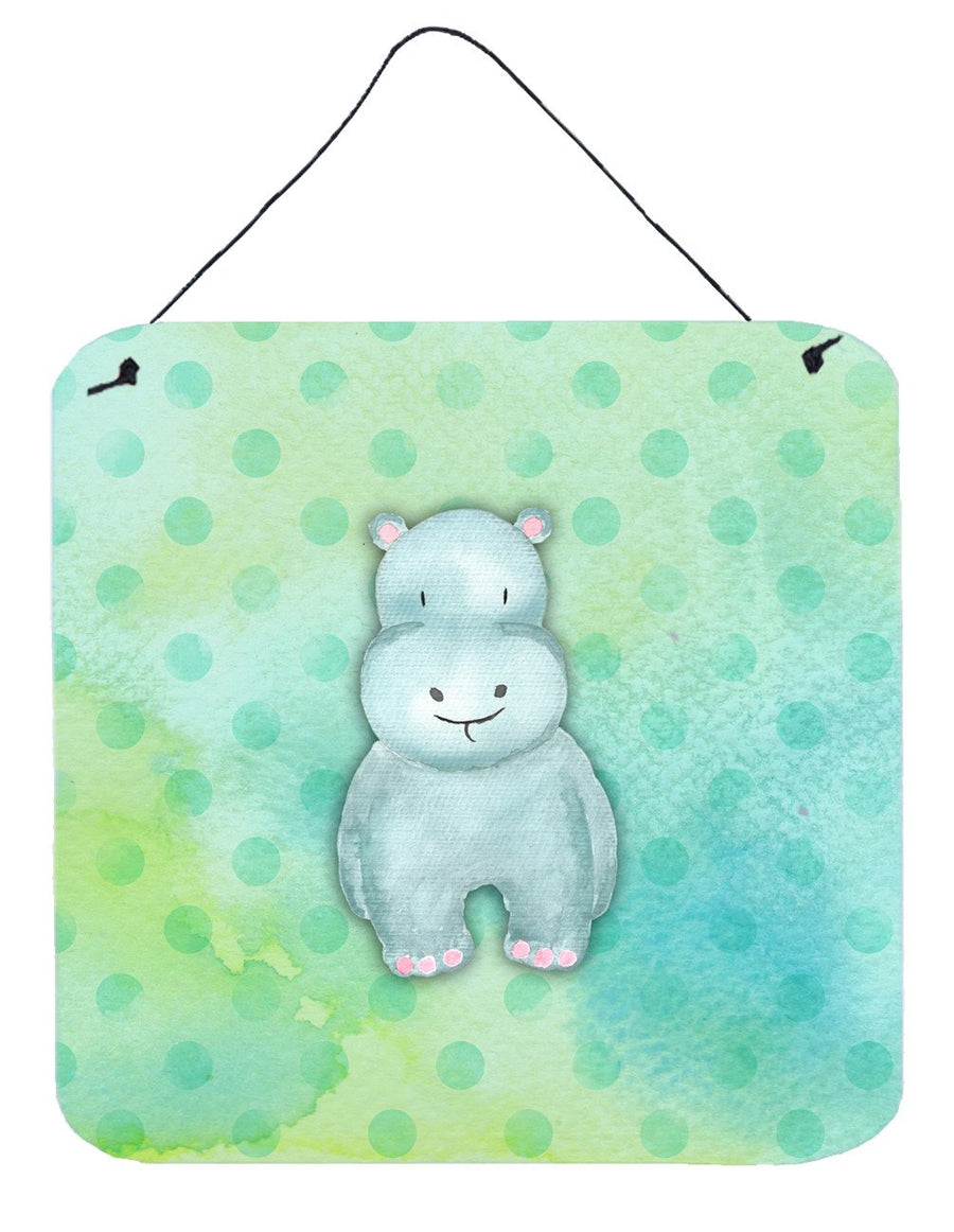 Buy this Polkadot Hippopotamus Watercolor Wall or Door Hanging Prints BB7389DS66