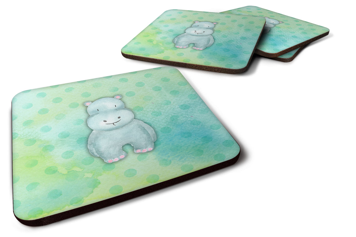 Buy this Polkadot Hippopotamus Watercolor Foam Coaster Set of 4 BB7389FC