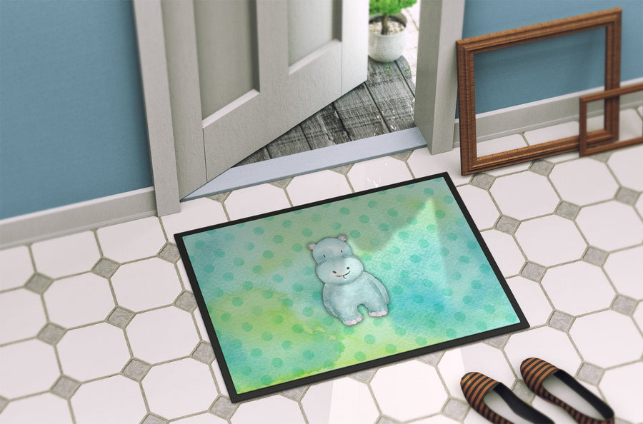 Buy this Polkadot Hippopotamus Watercolor Indoor or Outdoor Mat 24x36 BB7389JMAT