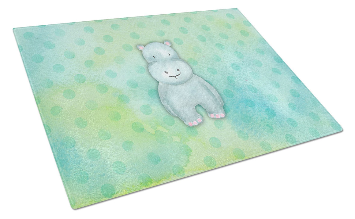 Buy this Polkadot Hippopotamus Watercolor Glass Cutting Board Large BB7389LCB