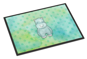 Buy this Polkadot Hippopotamus Watercolor Indoor or Outdoor Mat 18x27 BB7389MAT