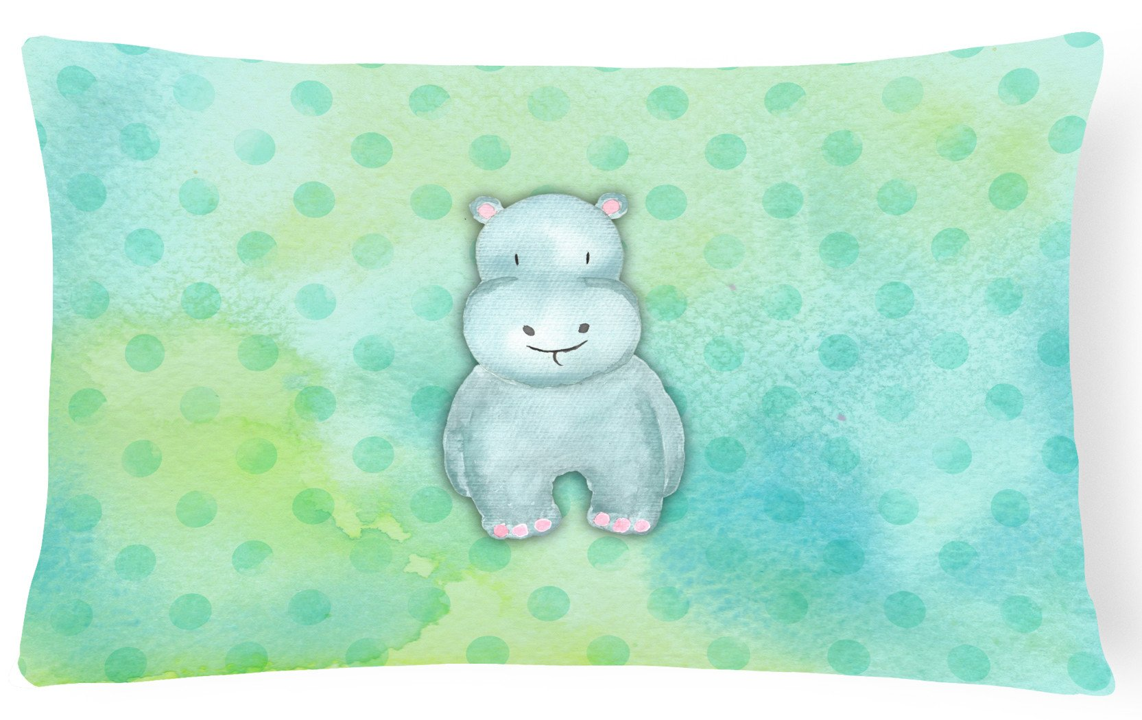 Polkadot Hippopotamus Watercolor Canvas Fabric Decorative Pillow BB7389PW1216 by Caroline's Treasures