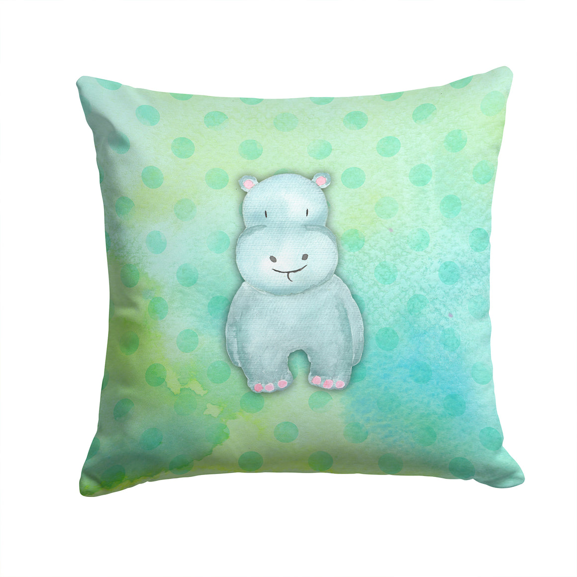 Buy this Polkadot Hippopotamus Watercolor Fabric Decorative Pillow BB7389PW1414