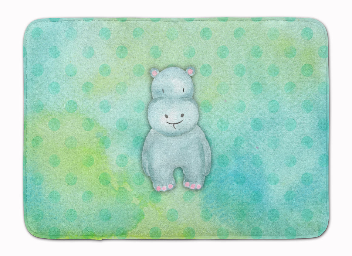 Buy this Polkadot Hippopotamus Watercolor Machine Washable Memory Foam Mat BB7389RUG