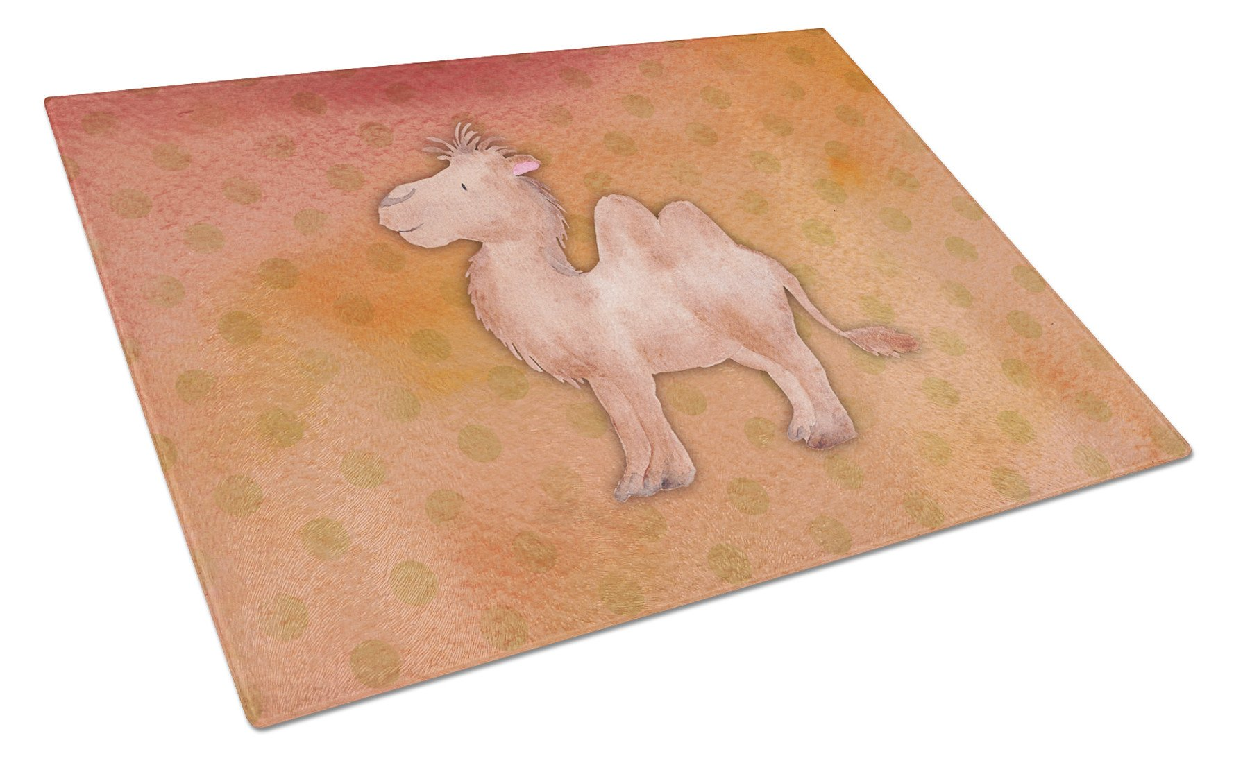 Polkadot Camel Watercolor Glass Cutting Board Large BB7393LCB by Caroline's Treasures