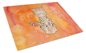 Buy this Leopard Watercolor Glass Cutting Board Large BB7396LCB