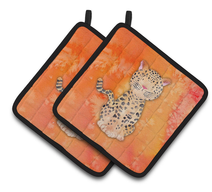 Buy this Leopard Watercolor Pair of Pot Holders BB7396PTHD