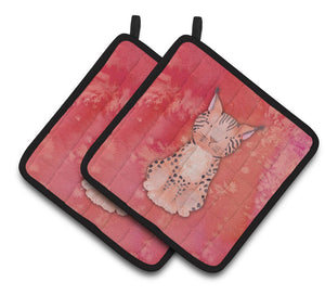 Buy this Lynx Watercolor Pair of Pot Holders BB7397PTHD