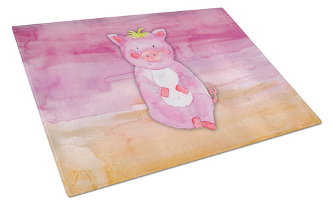 Buy this Pig Watercolor Glass Cutting Board Large BB7416LCB