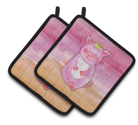 Buy this Pig Watercolor Pair of Pot Holders BB7416PTHD