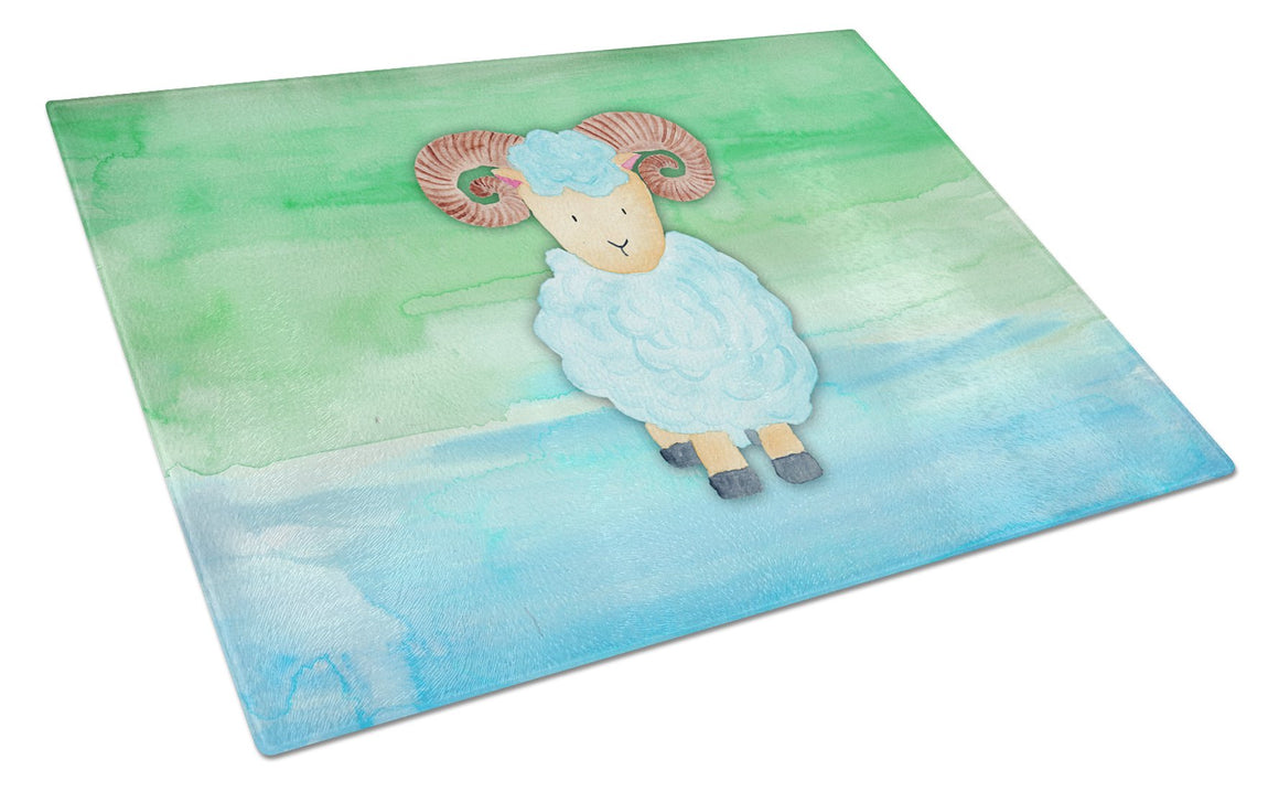 Buy this Ram Sheep Watercolor Glass Cutting Board Large BB7418LCB