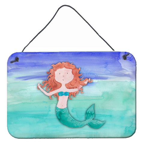 Buy this Ginger Mermaid Watercolor Wall or Door Hanging Prints BB7421DS812