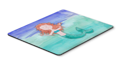 Buy this Ginger Mermaid Watercolor Mouse Pad, Hot Pad or Trivet BB7421MP