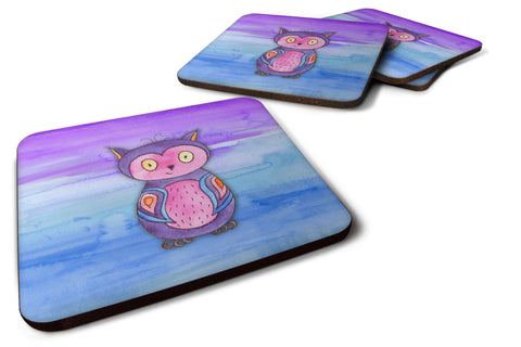 Buy this Pink and Purple Owl Watercolor Foam Coaster Set of 4 BB7427FC