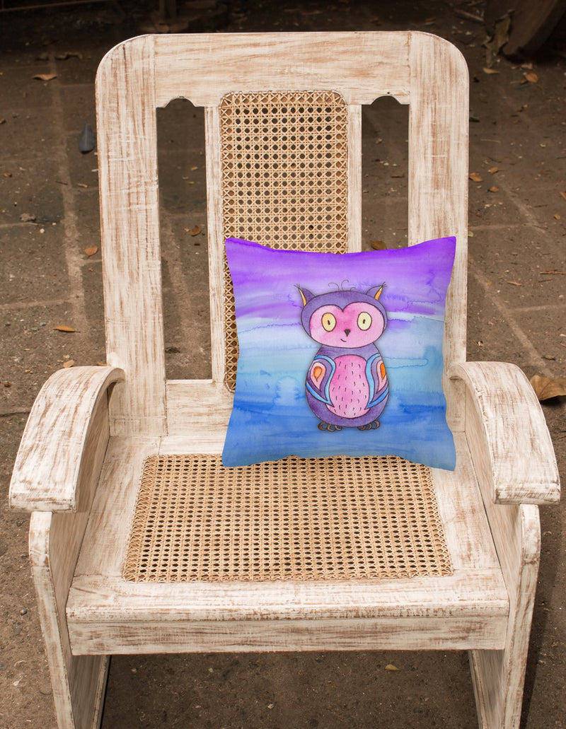 Buy this Pink and Purple Owl Watercolor Fabric Decorative Pillow BB7427PW1818