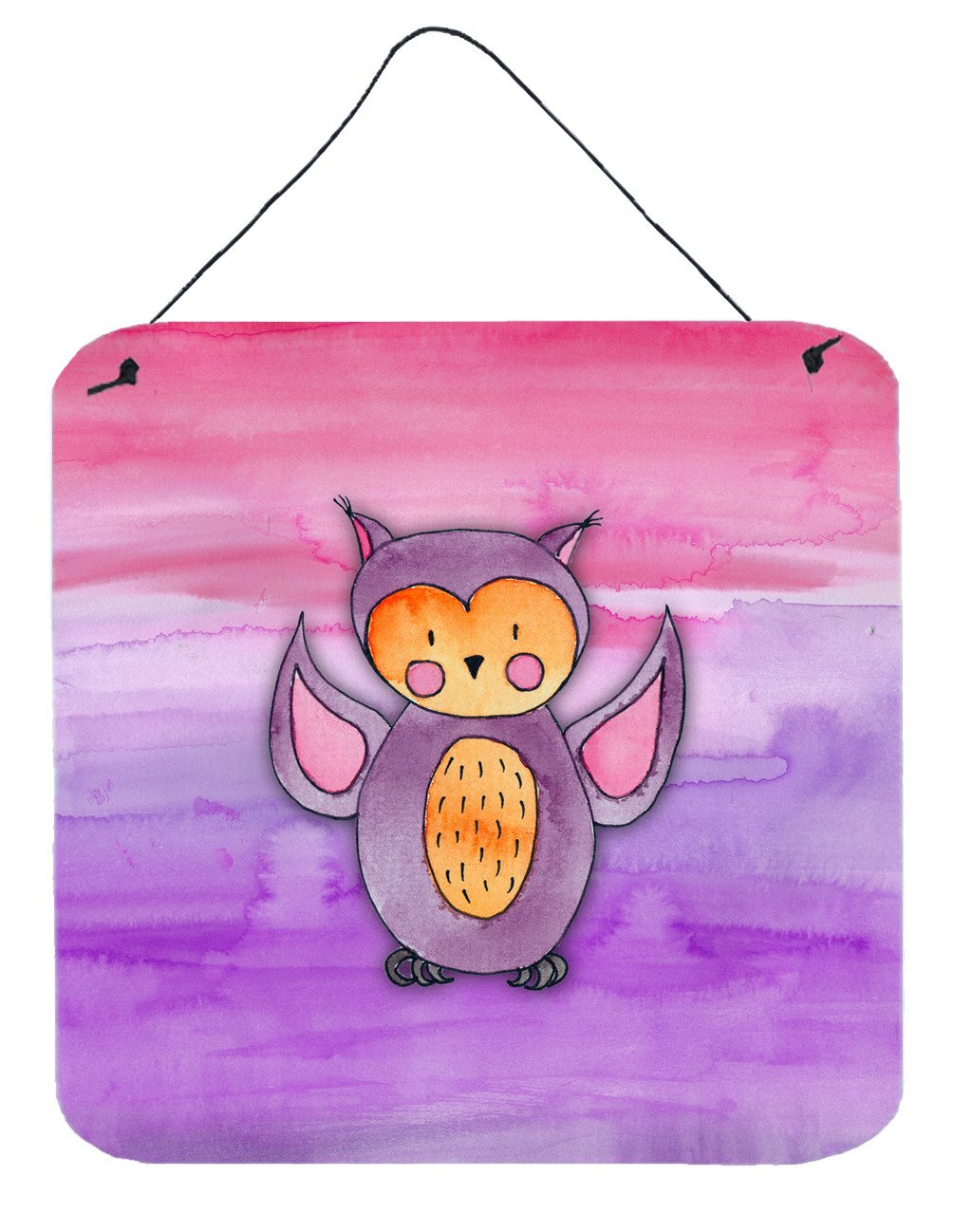 Pink and Purple Owl Watercolor Wall or Door Hanging Prints BB7428DS66 by Caroline's Treasures