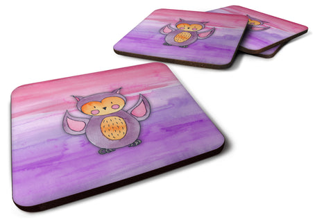 Buy this Pink and Purple Owl Watercolor Foam Coaster Set of 4 BB7428FC