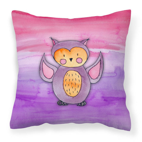 Buy this Pink and Purple Owl Watercolor Fabric Decorative Pillow BB7428PW1818