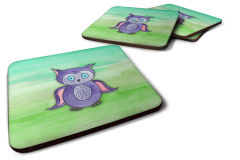 Buy this Purple Owl Watercolor Foam Coaster Set of 4 BB7429FC