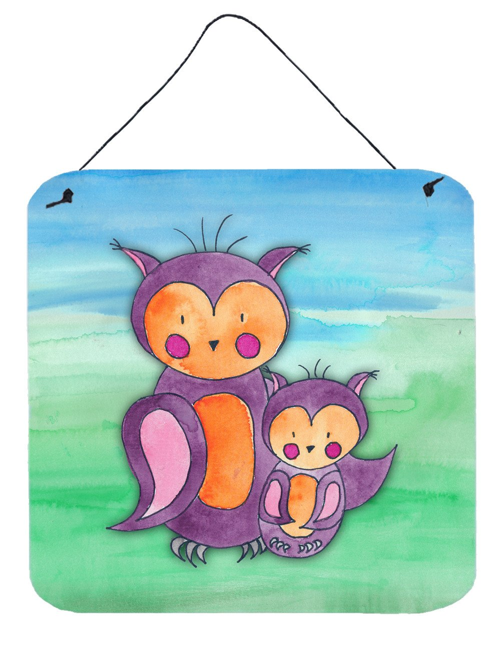 Momma and Baby Owl Watercolor Wall or Door Hanging Prints BB7430DS66 by Caroline's Treasures