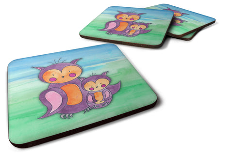Buy this Momma and Baby Owl Watercolor Foam Coaster Set of 4 BB7430FC
