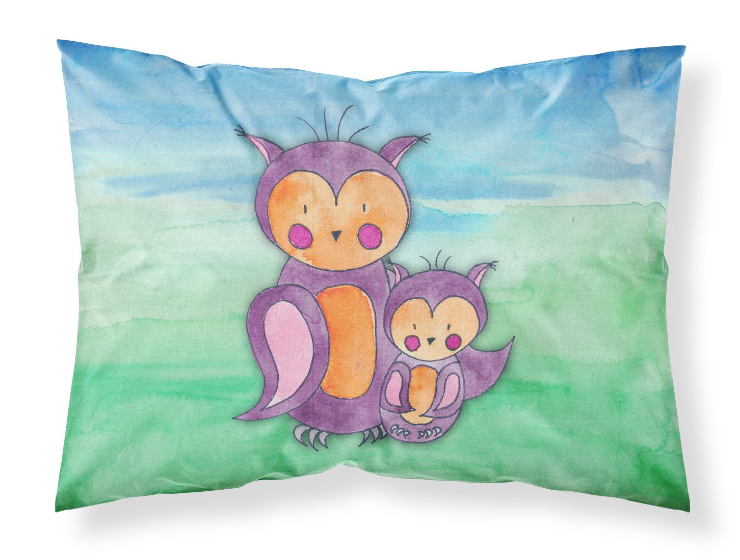 Momma and Baby Owl Watercolor Fabric Standard Pillowcase BB7430PILLOWCASE by Caroline's Treasures