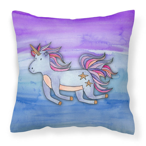 Buy this Blue Unicorn Watercolor Fabric Decorative Pillow BB7433PW1818