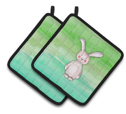 Buy this Bunny Rabbit Watercolor Pair of Pot Holders BB7437PTHD